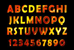 Fire font set. flame Alphabet. Fire text. burning contour font Stock Photos