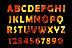 Fire font set. flame Alphabet Stock Photos