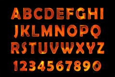 Fire font set. flame Alphabet. Fire text. burning contour font Stock Photography