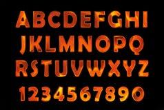 Fire font set. flame Alphabet Stock Photography
