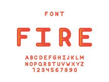Fire font. Vector alphabet. Letters and numbers. Typeface design Stock Image