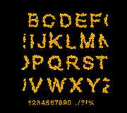 Fire fonts. ABC Fire letters isolated on black background. Vecto. R illustration Royalty Free Stock Images