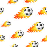 Fire football background. Seamless background design with fire football balls Royalty Free Stock Image