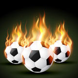 Fire football. Set of burning football soccer design Stock Images