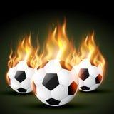 Fire football. Set of burning football soccer design royalty free illustration