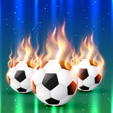 Fire football. Set of burning football soccer design Royalty Free Stock Photo