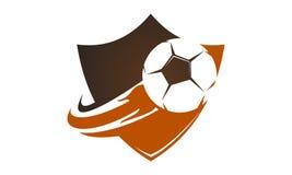 Fire Football on Shield. Logo Design Template Vector Stock Image