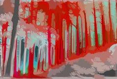 Fire forest. Digital art. Fire lava forest. Fantasy danger concept. Autumn landscape. Dead woods. Sharp art. Red hell Stock Image