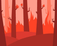 Fire in the forest. Flat design. Vector illustration Royalty Free Stock Photos