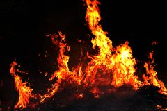 Fire, Forest fire at night, Fire burning hay Selective focus royalty free stock image