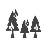 Fire in Forest. Fire, trees, flame icon vector image. Can also be used for firefighting. Suitable for use on web apps, mobile apps and print media Stock Photography