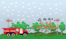 Fire in the forest vector illustration in flat style. Vector illustration of fire engine, helicopters and firemen in protective clothing extinguishing fire in Stock Image
