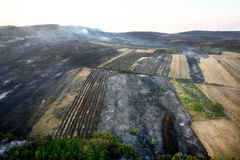 Fire in the forest of wildfire. Photographed from a helicopter Stock Photo