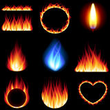 Fire forms icons vector set. Fire forms icons detailed photo realistic vector set Royalty Free Stock Photo