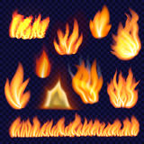 Fire forms isolated set, realistic style. Fire forms isolated set. Realistic illustration of 10 fire forms isolated for web Stock Photo