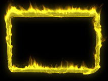 Fire Frame. A 3d image of yellow fire frame with black background Royalty Free Stock Photography