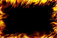 Fire frame. Framed fire with black background Stock Photography