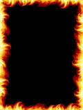 Fire frame. The fire border on black background, burning flames design Stock Photo