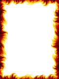 Fire frame. The fire border on white background, burning flames design Royalty Free Stock Photography