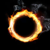 Fire frame. Oval flame with smoke on black background Royalty Free Stock Images