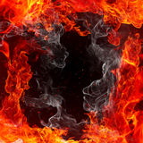 Fire frame. Flame and smoke Stock Photography