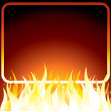 Fire frame. Fire poster with frame for your own text or design. Vector background Stock Images