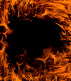 Fire frame. Background on black Royalty Free Stock Images