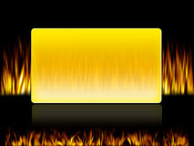 Fire frame. Fire in front and back side of a yellow box Royalty Free Stock Photo