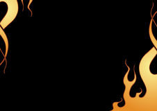 Fire frame. Flamed fire frame background in black Stock Image