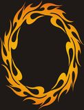 Fire frame. Fire tribal frame on black background Stock Photography