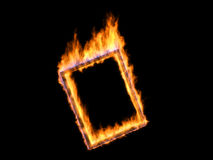 Fire frame. High detailed flames over black background Royalty Free Stock Photos