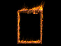 Fire frame. Abstract empty fire frame over black Stock Photos
