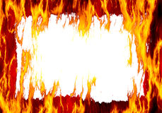 Fire frame. Abstract fire flames frame on white background Royalty Free Stock Photo