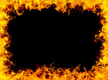 Fire frame background. Fire frame on black background Royalty Free Stock Photos
