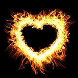 Fire frame on black background.Abstract heart. Digital illustrat. Ion Royalty Free Stock Images