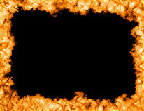 Fire frame. On black background, fire on the sides Royalty Free Stock Images
