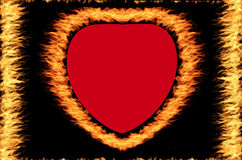 Fire frame. Fire heart frame on the black background Royalty Free Stock Photos