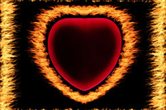 Fire frame. Heart on the black background Royalty Free Stock Photography