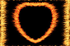 Fire frame. Fire heart frame on the black background Royalty Free Stock Photography