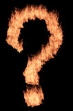 Fire frame. Fire question sign on the black background Royalty Free Stock Photography