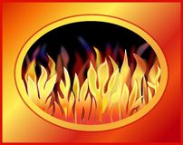 Fire Framed. Illustration of a fiery blaze of flames in a bold colored frame Stock Photo