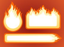 Fire frames. Three ornate fire frames on a red background Stock Photography