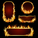 Fire Frames Set. Burning fire realistic frames set on black background  vector illustration Royalty Free Stock Photography