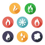 Fire, freeze, steam, water icons. Flat style Stock Photos