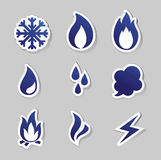 Fire, freeze, steam, water icons Royalty Free Stock Images