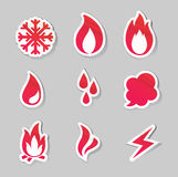 Fire, freeze, steam, water icons Stock Photos