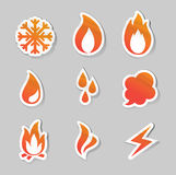 Fire, freeze, steam, water icons Stock Photo