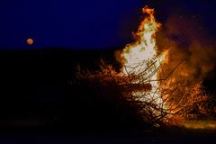 Fire and full moon Royalty Free Stock Photos