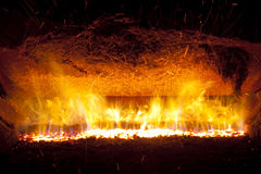 Fire in furnace Royalty Free Stock Image