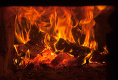 Fire in the furnace Stock Photo